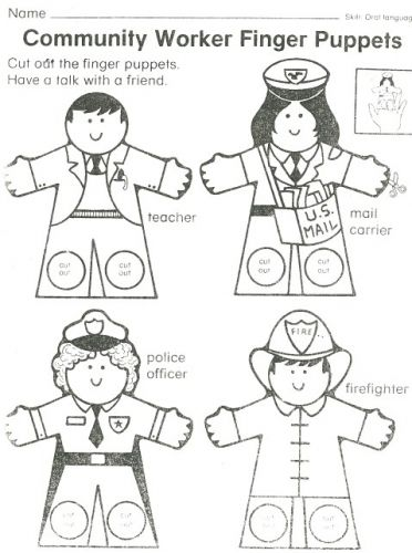 Community Worker Finger Puppets from questgarden.com