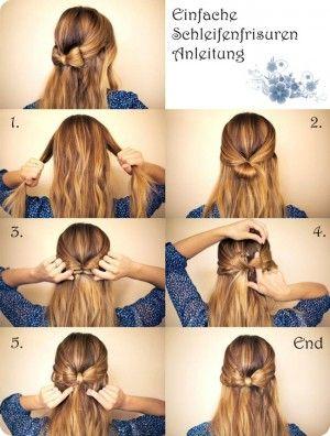 Einfache Schleifenfrisur Frisuren Pinterest Frisuren Selber