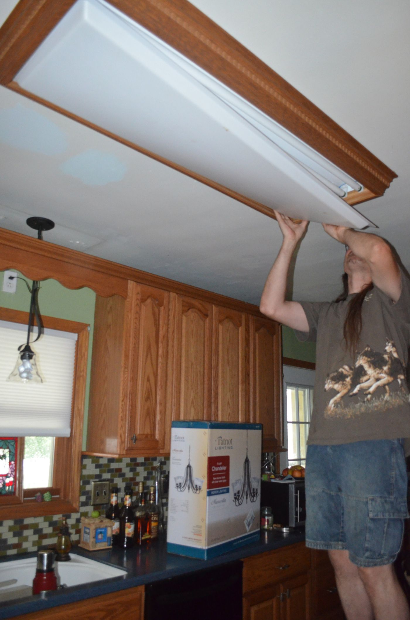 replace fluorescent light fixture in kitchen blender replacing the overhead florescent