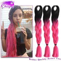 10pcs/Lot Ombre Kanekalon Braiding Hair 1B/Pink Kanekalon ...