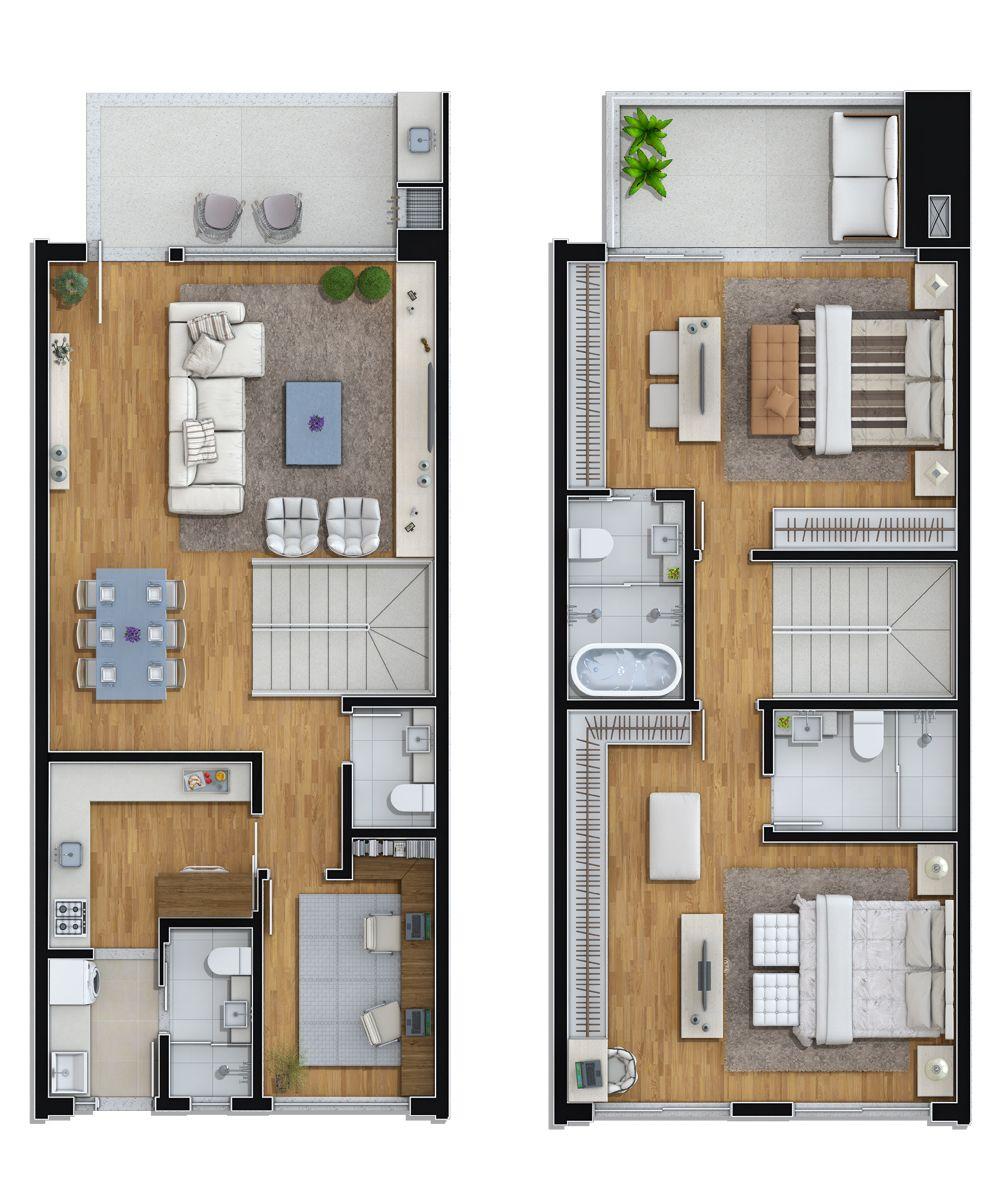 Planta tipo 1  3 suites  1 dorm  Plantas de casas