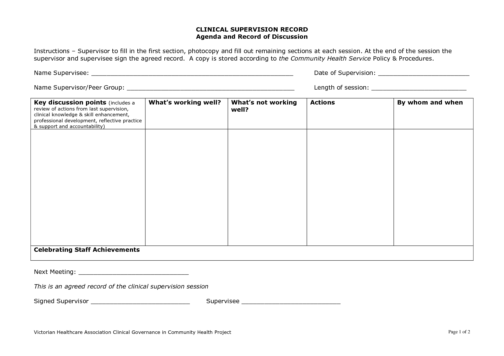 Clinical Supervision Template