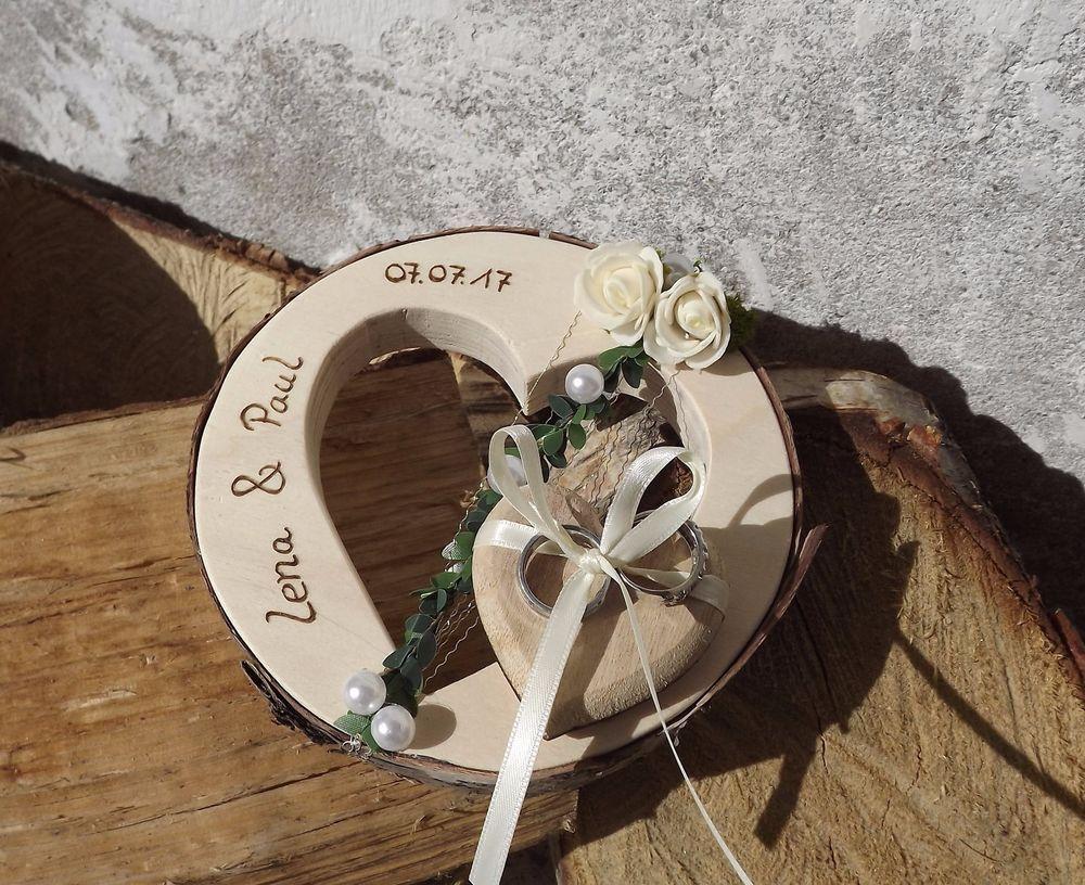 Ringkissen Ringhalter Herz rund Holzherz mit Beschriftung