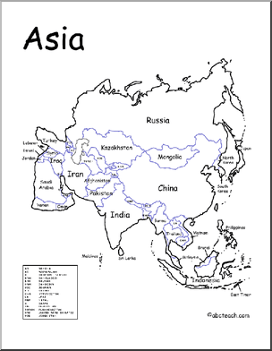 A printable map of the continent of Asia labeled with the