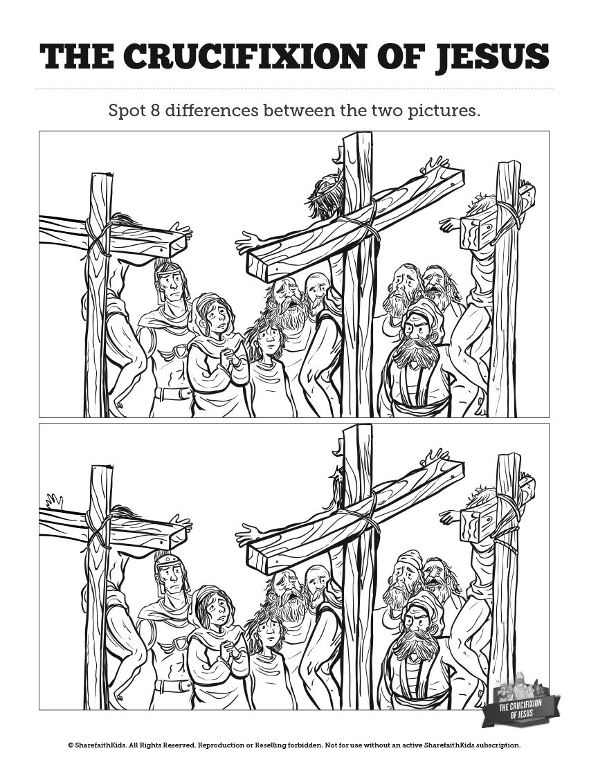 Jesus' Crucifixion Kids Spot The Difference: Can your kids