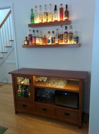 Liquor cabinet made from an old tv unit.