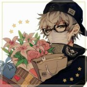 anime boy flowers mask glasses