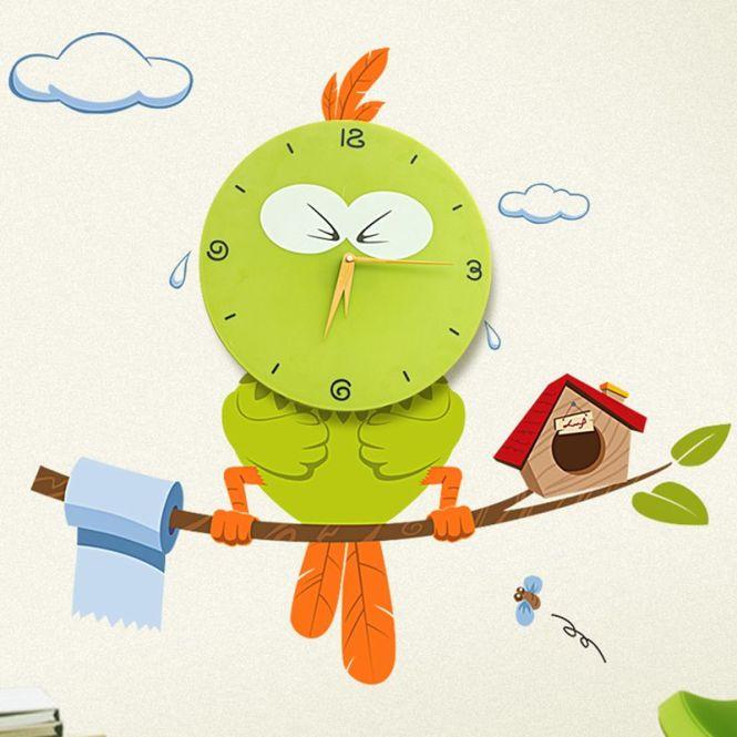 Wall Clocks With Sticker Diy Photo Tree Bird Pvc For Bedroom Creative Digital