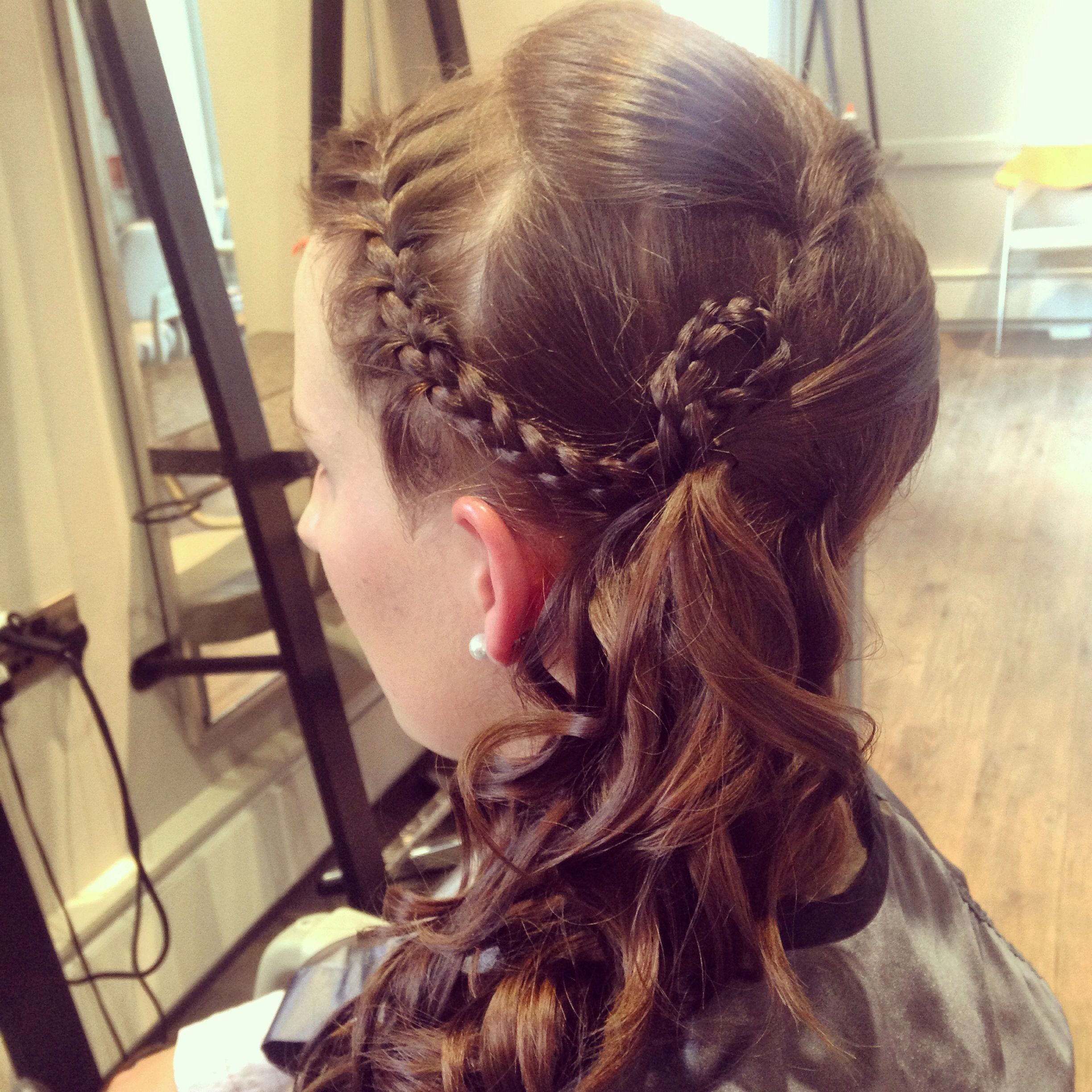 Side plait curls long hair hunt ball Hair by Kirsty