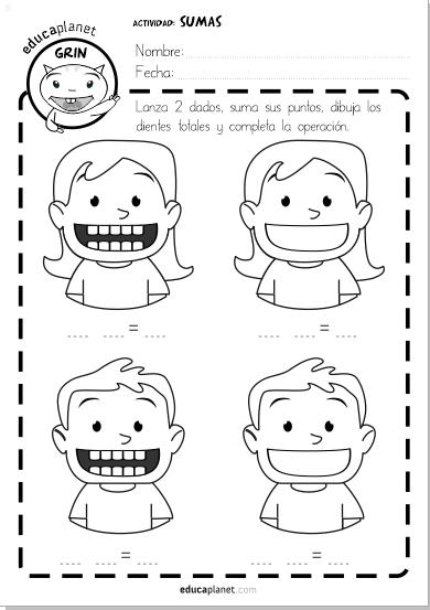 suma restas dientes #sumar #restar #worksheet #math #