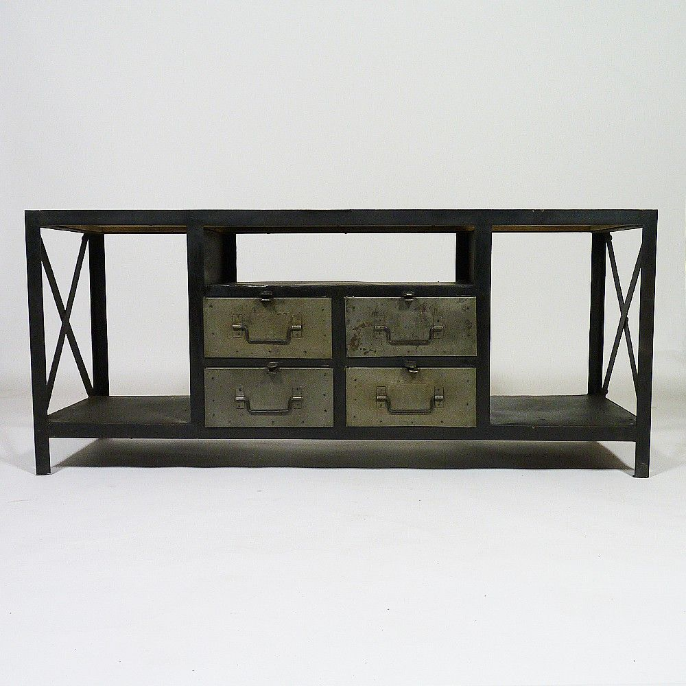 meuble tv 4 tiroirs 3 niches en metal et plateau bois http