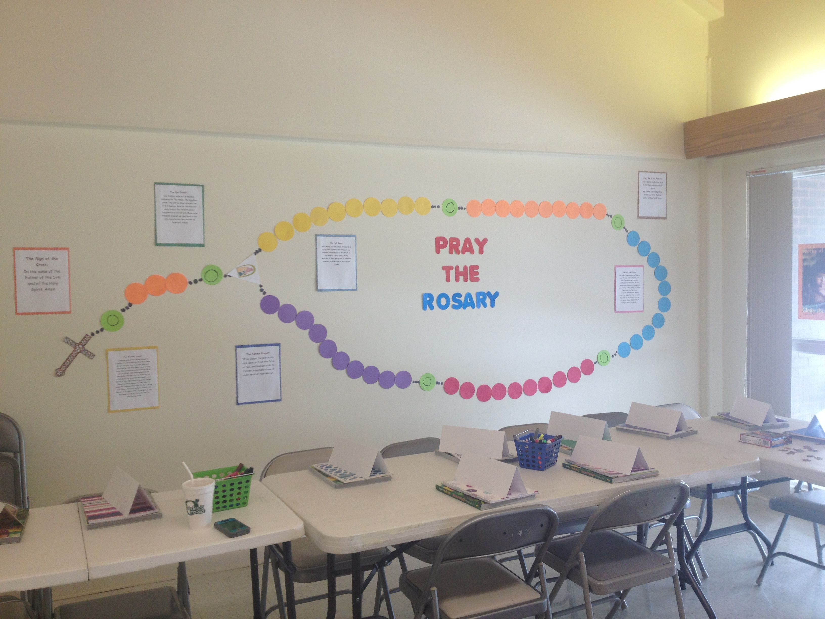 A Wall Rosary I Made For My Friend S 7th Grade Ccd Class The Prayers Are All Around It Also