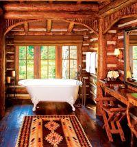 Rustic cabin bathroom | Luxury Log Cabin Homes | Pinterest ...