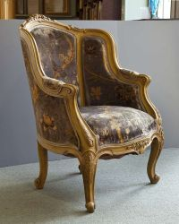 Pair Louis XIV Style French Antique Bergere Arm Chairs ...