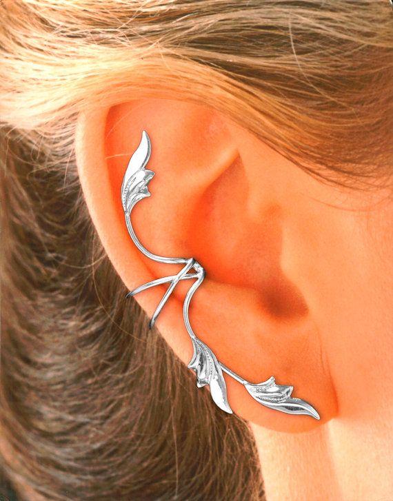 Full Ear 3 Leaf Ear Cuff Earring in Sterling Silver by