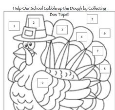 Thanksgiving-themed Box Tops collection sheet from the PTO