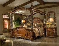 Bedroom. victorian style brown glaze wooden canopy bed ...