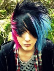 black blue and pink hair colorful