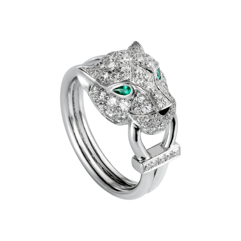Panthre De Cartier Ring White Gold Emerald Onyx