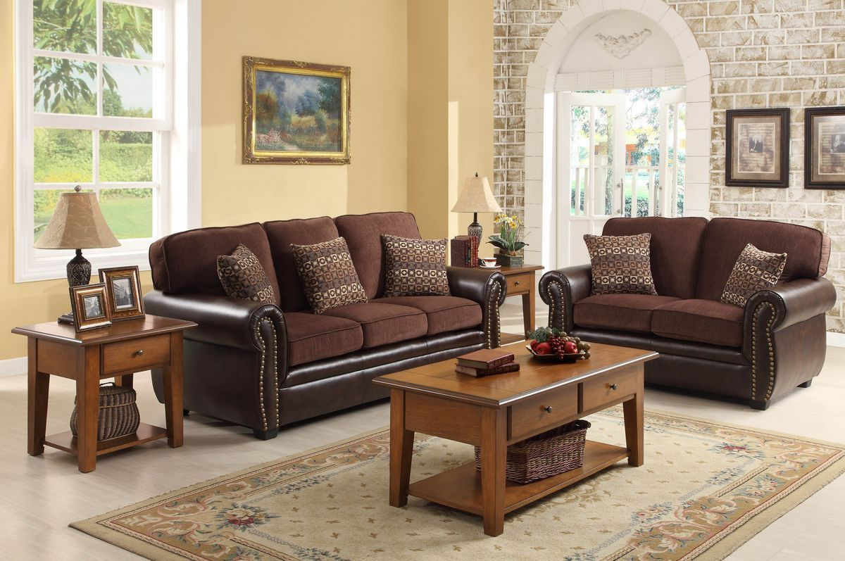 2 Pc Beckstead Collection Two Tone Chocolate Chenille And