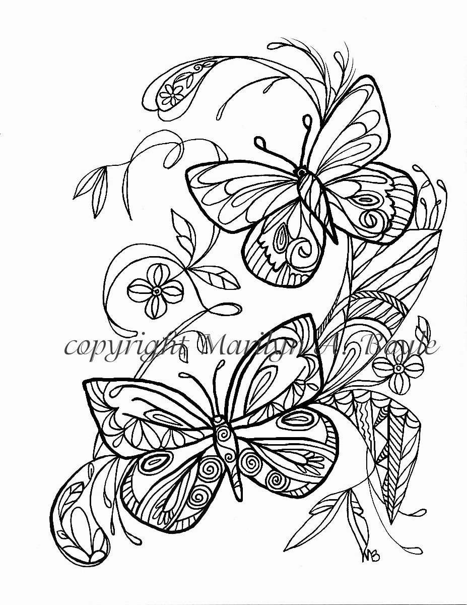 ADULT COLORING PAGE; butterflies, flowers, garden