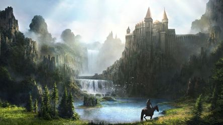 fantasy castle waterfall riding hd castles wallpapers horse lake landscape artwork nature titled horses sauvage