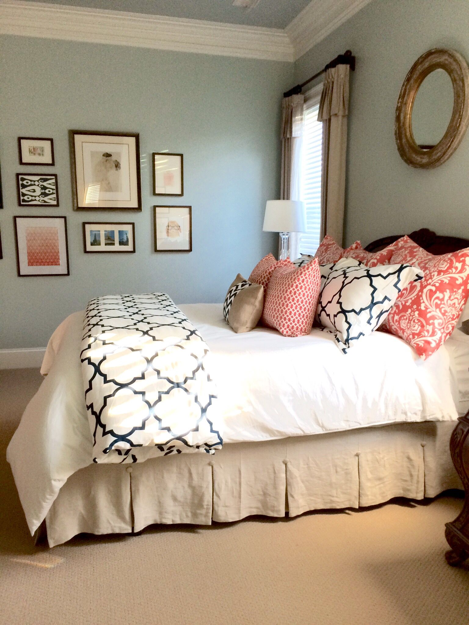 Completed linen navy and coral bedroom To see more rooms in my home and read my blog please