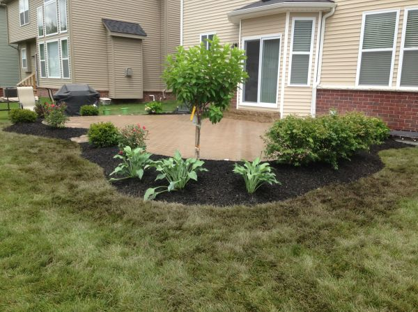 flower bed brick paver patio
