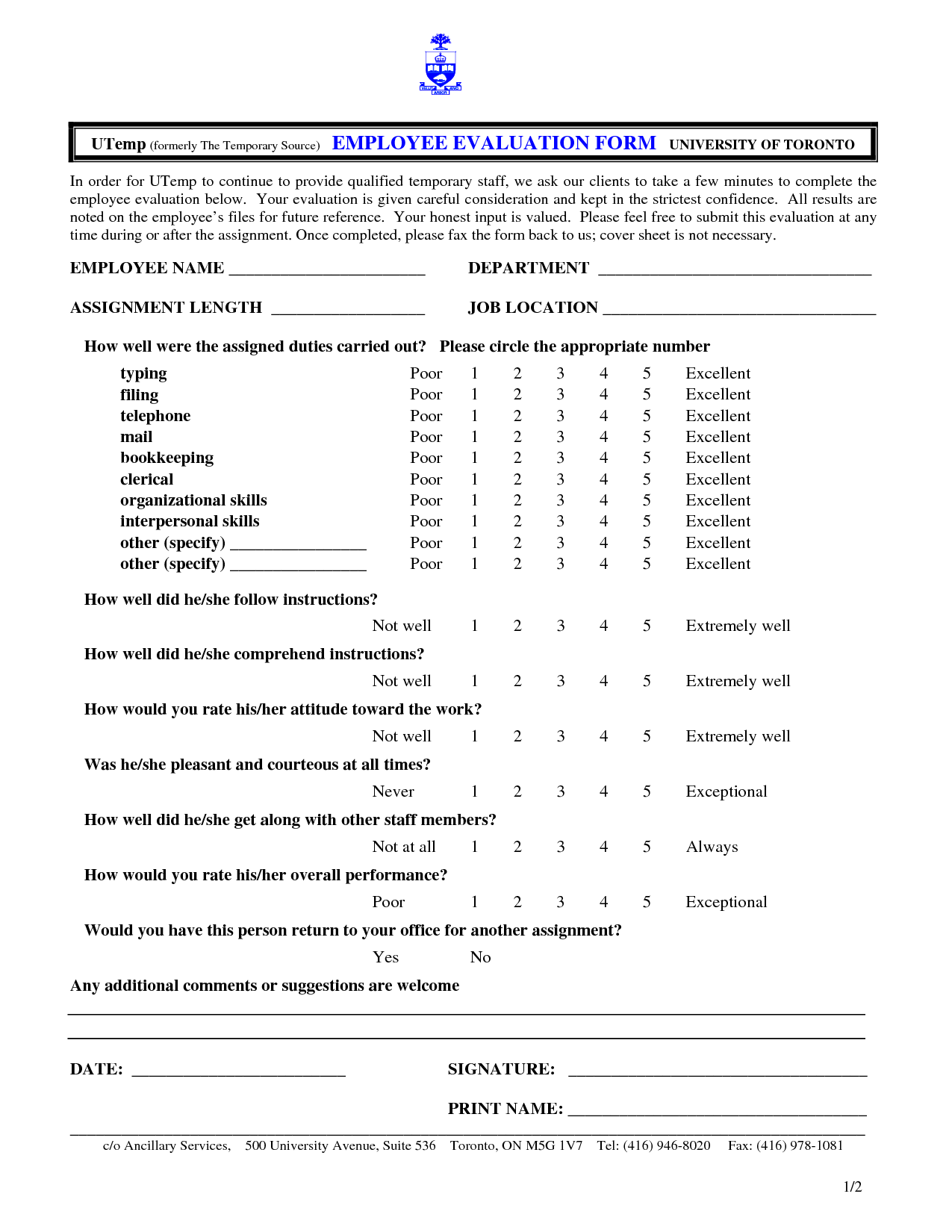 Free Employee Evaluation Form Template This N That