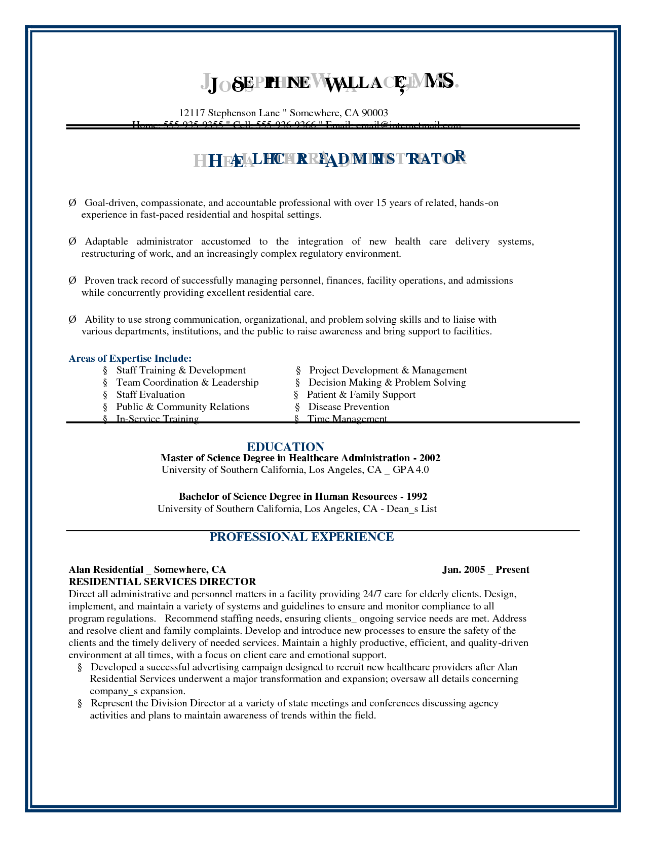 resume example for administration