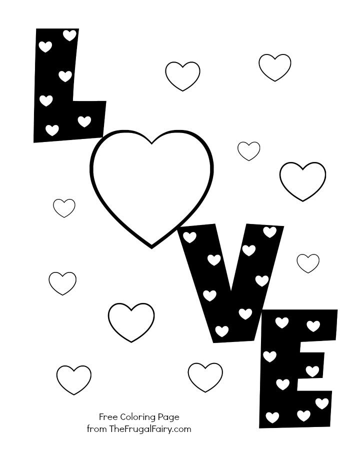 Valentine's Printable: Love Hearts Coloring Page