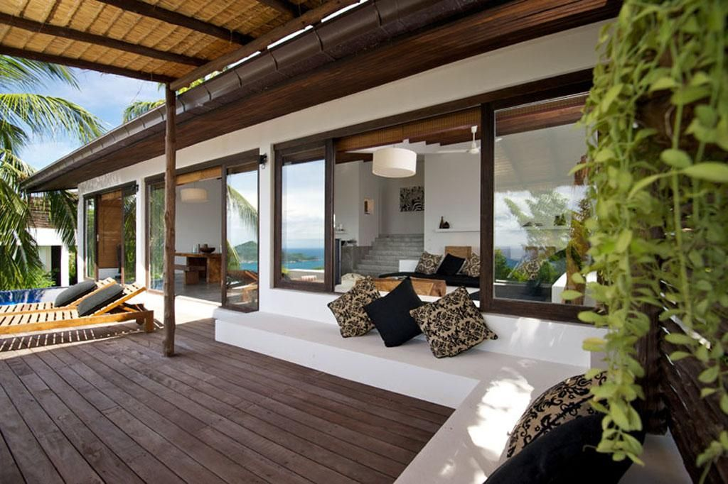 Terrace House With Shades And Outdoor Sofa With Cushions Modern
