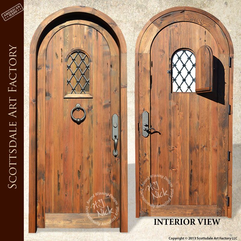 Arched Door With Speakeasy Portal Window Custom Wood Door