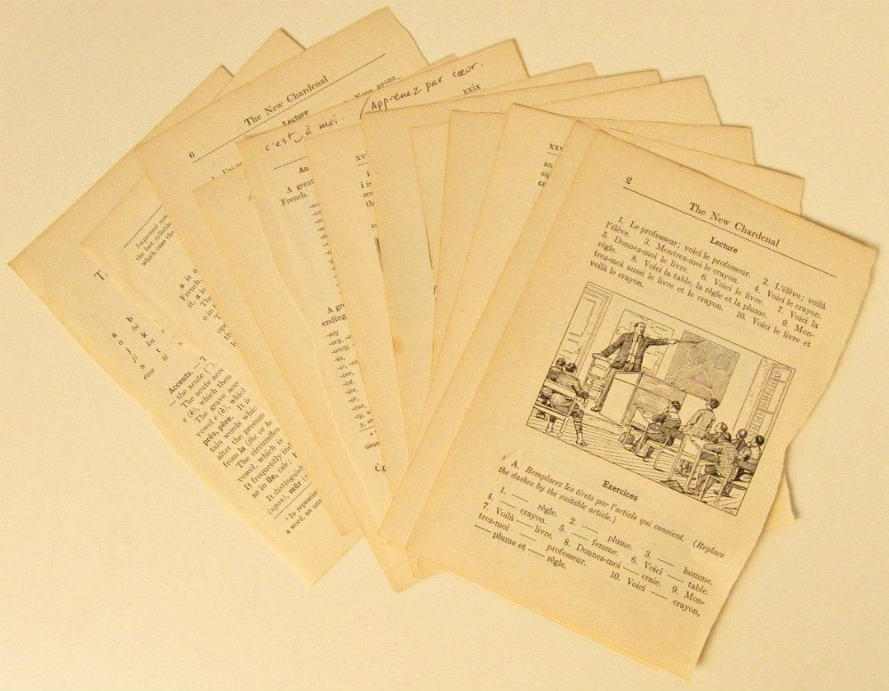 vintage french language book pages collage paper pack one dozen 1920s 2 50