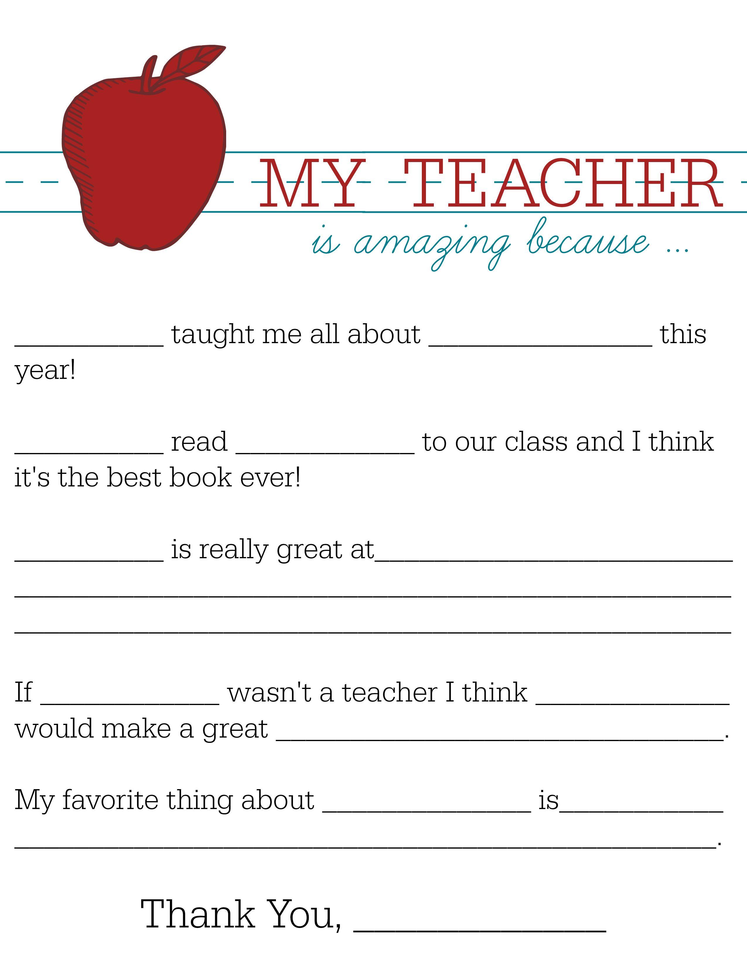 All About My Teacher Appreciation Teacher And Child