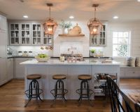 Fixer Upper | Copper accents, Gray cabinets and White marble
