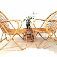 Bamboo Rattan Chair Evacuation Alibaba Pair Chairs Franco Albini Style Vintage Mid
