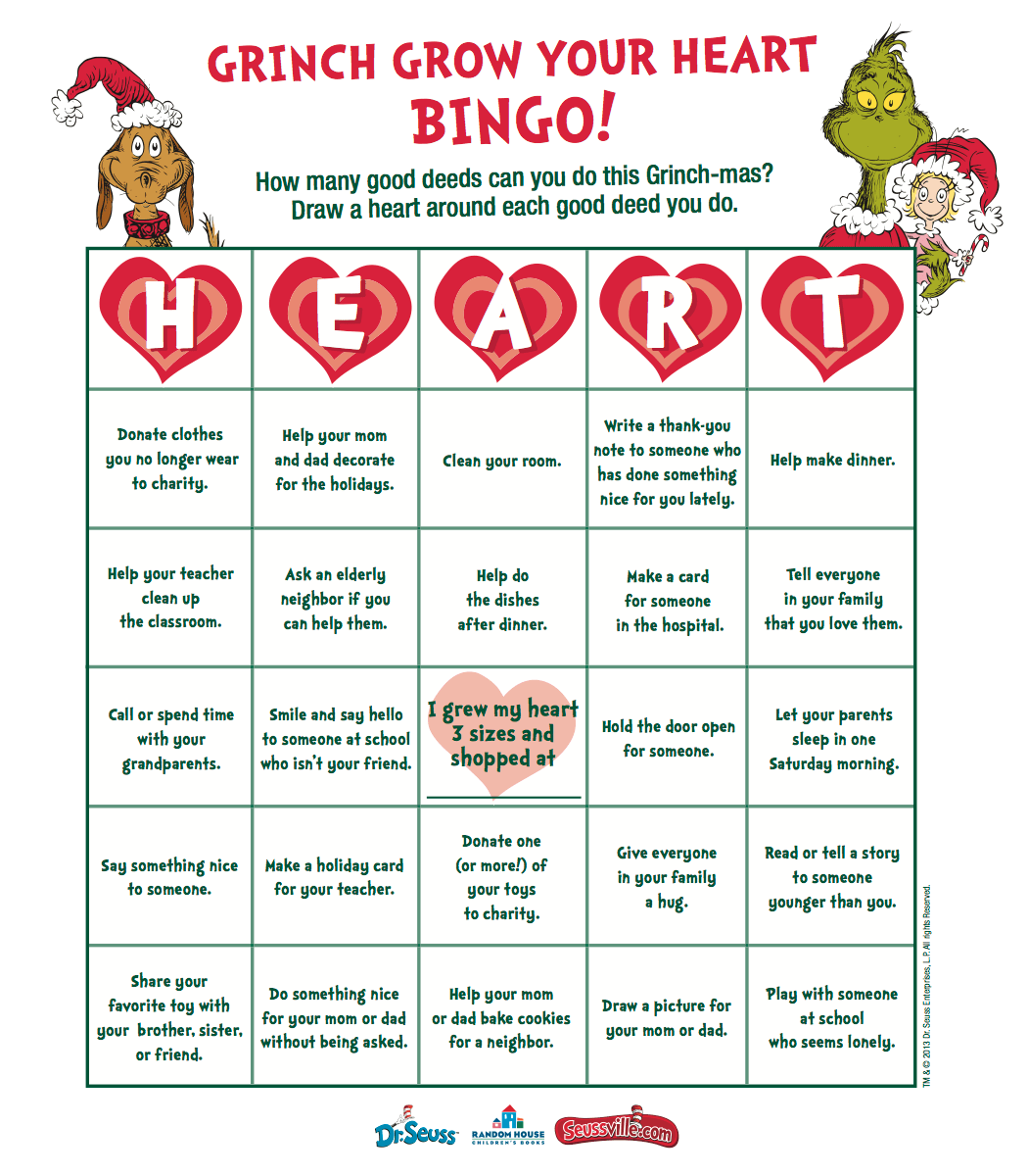 Grow Your Heart With Grinch Bingo Amp Get Grinch Ts At Zulily