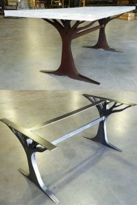 What an interesting custom table leg base. Made from metal ...