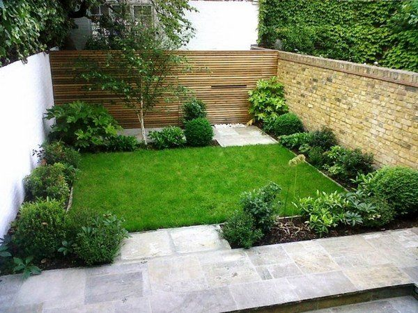 Small Garden Design Ideas Wooden Fence Brick Wall Shrubs Small