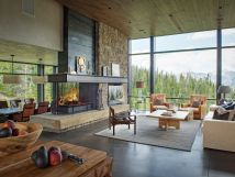 Modern Mountain Home Fireplace