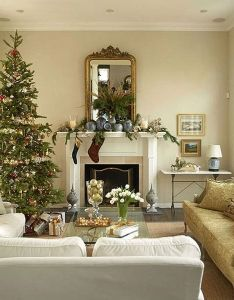 Traditional christmas tree decorating ideas display beside fireplace home trends design photos picture at and interior also pin by vessi  on pinterest rh