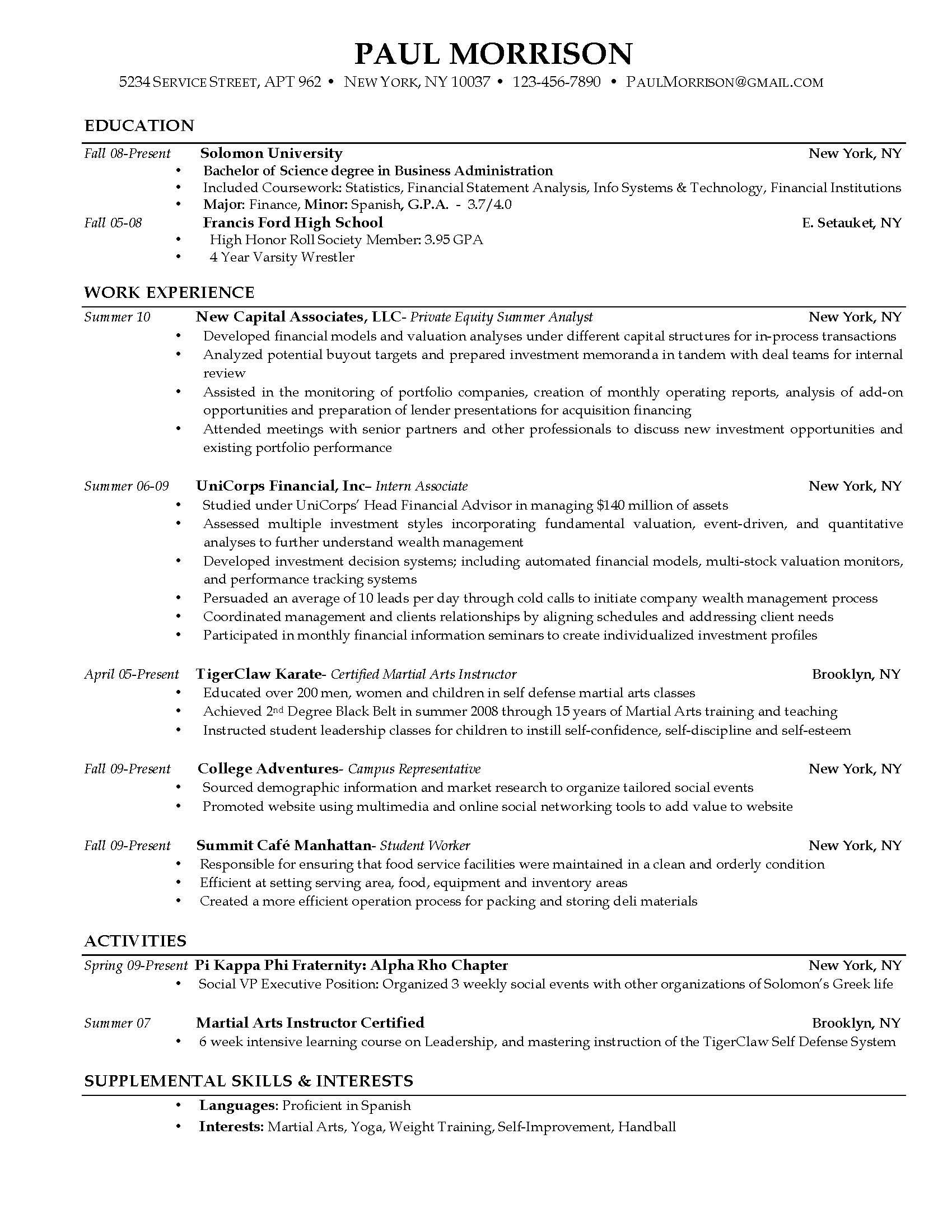 Current Resume Examples  Examples Of Resumes