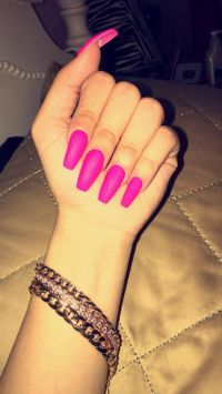 Matte Hot Pink Long Coffin Shape Acrylic Nails, arm candy ...