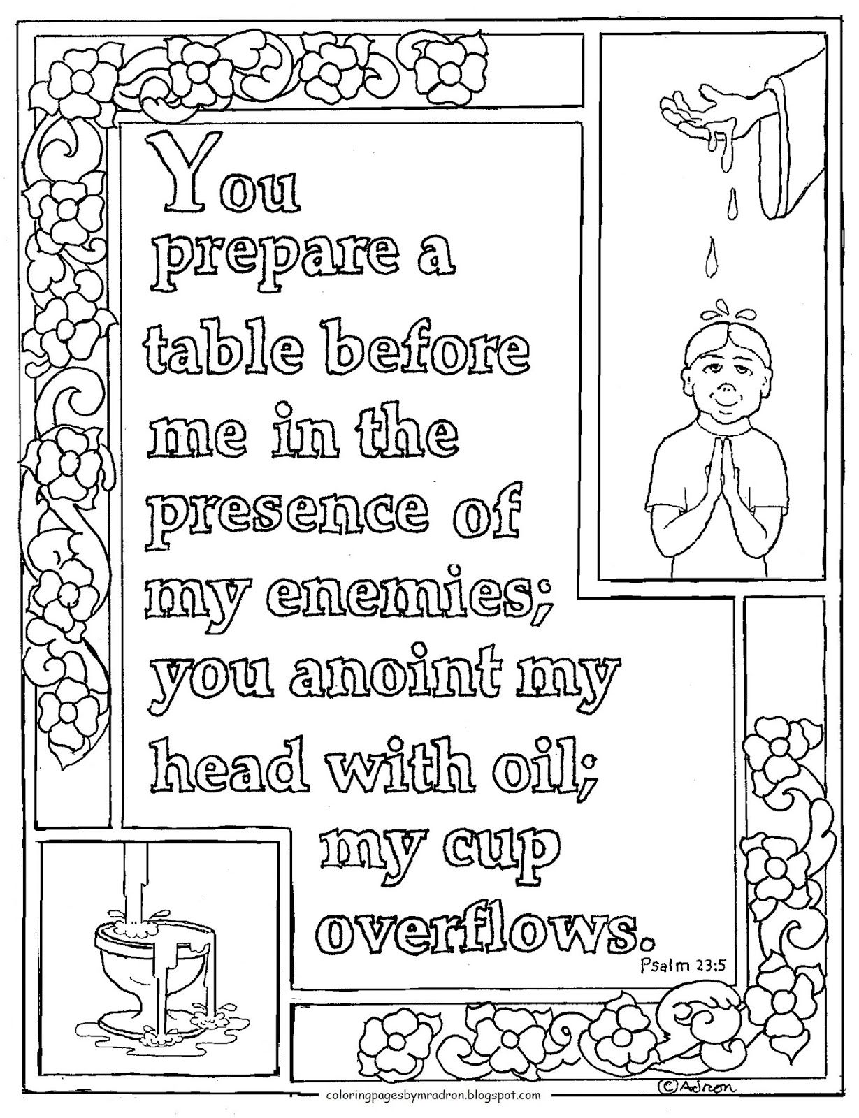 This Is A Free Psalm 23 5 Printable Coloring Page It Is