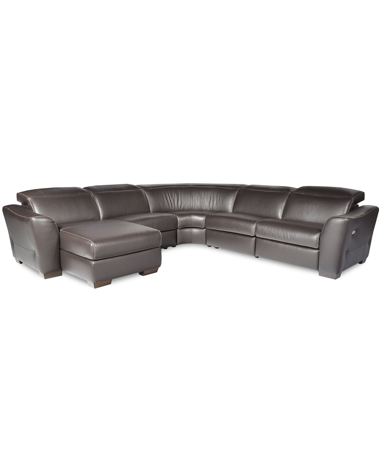 caruso leather 5 piece power motion sectional sofa l shaped broken white with recliner and chaise alessandro pc 1