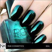 metallic dark green rgb nail