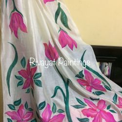 Punjabi Suit With Flower Paint | Gardening: Flower and