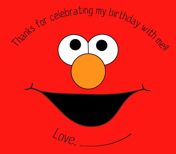 Elmo Face Red Background Sticker Party Favor Bags 1st Birthday