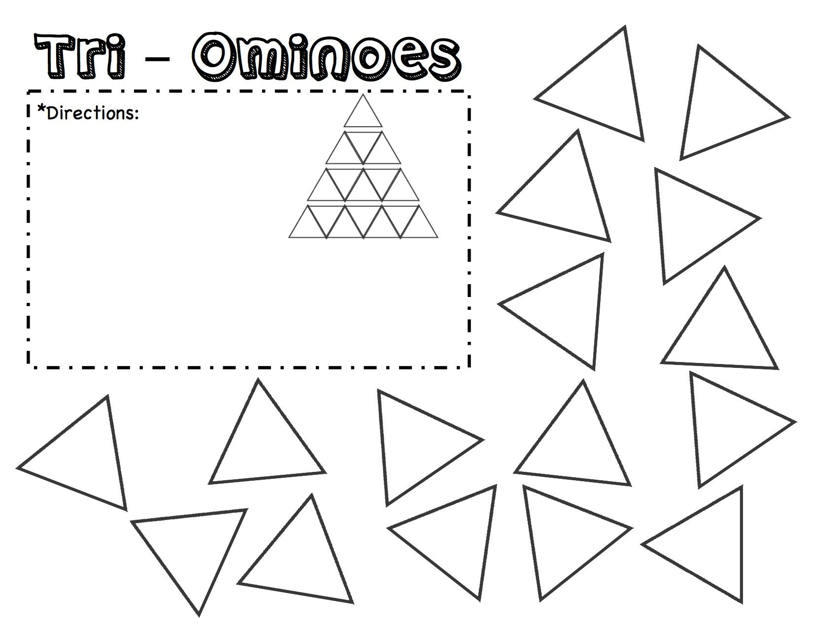 Tri-Ominoes Puzzle Template Printable. Fill in the
